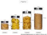 4 يخلي مجموعة [800مل/1500مل] زجاجيّة طعام تخزين مرطبان مع [ستينلسّ ستيل] غطاء