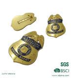 La policía de cobre amarillo del esmalte del metal del diseño especial Badge con el Pin de seguridad