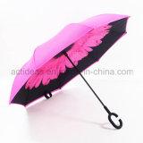 Зонтик напечатанный двойником вверх ногами обратный с ручкой формы c для промотирования