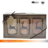 Set von 2 duftender Glasglas-Kerze mit Abziehbild-Papier im Geschenk-Kasten für Hauptdekor