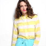 long Sleeve Scalloped Hemの女性しまのあるブラウスのワイシャツ