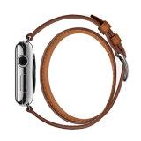 De populaire Riem van Iwatch van de Riem van het Horloge van de Appel van het Leer van de Korrel van de Douane van het Ontwerp Bruine Volledige