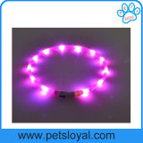 USB 재충전용 애완 동물 제품 공급 실리콘 LED 애완견 고리