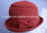 Chapéu feito malha jacquard de lãs da forma com roxo do chapéu da curva/cubeta