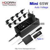 USB C QC3.0のタイプCを持つ自動調節可能な電圧ラップトップの充電器が付いている多重65Wラップトップのアダプターの切換えの電源はDCのアダプターを移植する
