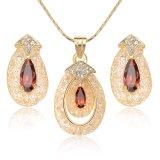 Conjunto de rubíes cristalino de la joyería del oro de la manera de la alta calidad