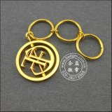 Lederner Schlüsselring, Gold überzog Metall Keychain (GZHY-KA-070)