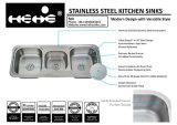 ステンレス鋼の台所の流し、三重ボールの流し、ステンレス鋼の上の台紙の三倍ボールの下水管のボードの台所の流しの低下