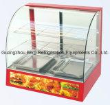 Exposição de exibição de aquecimento curvado de vidro, Mostra de exibição de aquecedor de alimentos quentes
