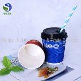 Gewölbtes Papier-Tee-Cup-doppel-wandige Kräuselung-Papier-Wegwerfkaffeetasse