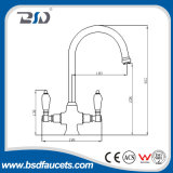 Hot Sale Double Cremic Handle Brass Kitchen Faucets UK Market