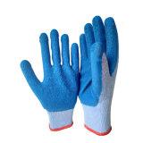 Голубые перчатки сада Crinkle латекса пряжи 21s