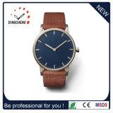 Nueva moda de cuero auténtico de acero inoxidable reloj de cuarzo