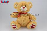 """7,5"""" blanc adorable ours en peluche avec coeur rouge ruban d'impression Bos1106"""