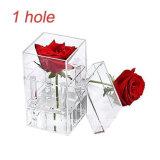 Acrílico transparente personalizado rosa flor Caja de regalo de lujo con tapa