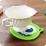 Karikatur-Katze-Küstenmotorschiff-Silikon-Matte für Getränk-Tee-Getränkebier-Becher