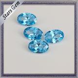 Prix de gros pour Aqua Blue forme ovale zirconia cubique