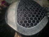 Toupee nero del merletto di esagono con la linea di demarcazione dell'unità di elaborazione