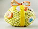 Pote de biscoito cerâmico em forma de ovo de páscoa para decoração de casa