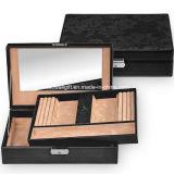 Bureau en cuir réel de empaquetage de suède de cadre de bijou avec le château de miroir