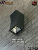 Nueva MAZORCA ligera con estilo LED del CREE 2X6w del LED Updown en IP65