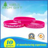 L'abitudine ha impresso il Wristband variopinto 100% del silicone di marchio stampato Debossed/