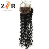 Fermeture en soie de cheveu de lacet de cheveu brésilien suisse de lacet première