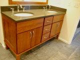 Серая ванная комната Countertop Prefab Quartz Stone для ванной комнаты Design
