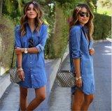T1128 Women Fashion Jeans Shirt /Shirt Dress con Pockets Long Sleeve