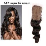 Toupee 4*4 de las mujeres naturales del pelo humano del 100%