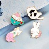 Lindo Gato Conejo de dibujos animados de sirena de esmalte insignia de solapa para la ropa, gorras, bolsos