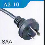 силовой кабель Pin Австралии 10A 250V 3 с штепсельной вилкой (A3-10)