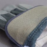 灰色の綿3056.06が付いている牛そぎ皮の完全なやし働く手袋