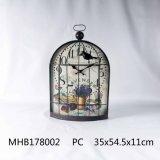 Diseño de la jaula de pájaros reloj Metal acabado en negro para la decoración del hogar
