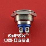 Onpow 19mm 금속 누름단추식 전쟁 스위치 Polished 유형 (GQ19SF-10/S, CCC 의 세륨, 호환된 RoHS)
