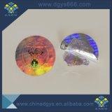 Aduana una etiqueta engomada colorida cortada con tintas uso del holograma del tiempo