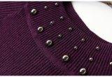 Pedido suíço da alta qualidade que perla o vestido longo feito malha Elevado-Garganta do colar do reforço das senhoras