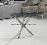 둥근 스테인리스 다리 둥근 유리제 테이블