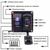 Interrupteur à bascule Zombie light on-off switch + DOUBLE 4.2A Chargeur USB + VOYANT Voltmètre pour 12V-24V Bateau moto circonscription