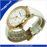 Relógio do couro do aço inoxidável da alta qualidade da jóia com chapeamento de ouro do IP