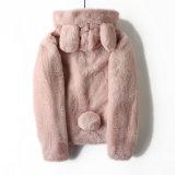 Cappotto di pelliccia francese della pelliccia della pelliccia di colore rosa del cappello delle orecchie di coniglio di ordine