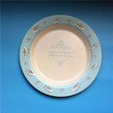 Placa de bambú de la fibra de la impresión de cena de la etiqueta redonda artística reutilizable de las placas