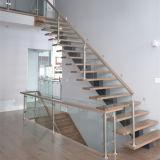 Escalera de cristal recta del diseño moderno con la pisada sólida de la escalera del roble