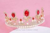 Parti superiori a cristallo rosse del Rhinestone del diadema dei monili della perla di cerimonia nuziale della parte superiore degli accessori nuziali dei capelli per le donne