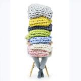 熱い販売の明白な極度のがっしりしたMerinoウールまたはアクリルヤーンの柔らかい毛布