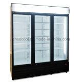 3 porte en verre d'un réfrigérateur avec boissons commerciales Embraco compresseur