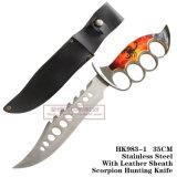 Facas táticas fixas das facas de caça da lâmina dos furos de dedo com couro 35cm HK983-1