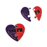 Emblemas do esmalte da forma do coração de China como o presente relativo à promoção