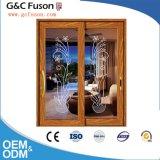 Vidraças Doulbe Porta corrediça de alumínio com persianas de madeira dentro