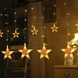 A cortina da estrela ilumina luzes enlaçáveis impermeáveis da corda da cortina 8 modalidades com o decorativo ao ar livre interno claro de Fariy do indicador remoto para o Natal